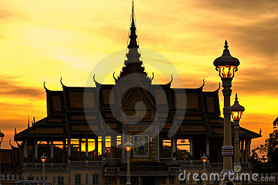 Silhouette of Royal palace Pnom Penh, Cambodia.