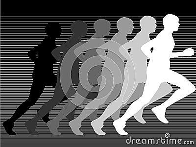 Silhouette of runner in gray