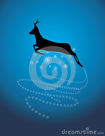 Silhouette of a running Christmas deer
