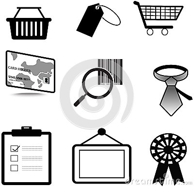 Silhouette sales and commerce material icon collec