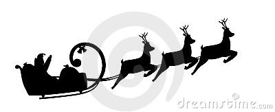 Silhouette Santa Claus drives in a sleigh
