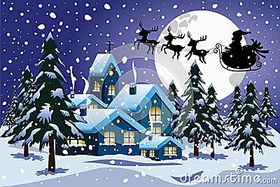 silhouette santa claus xmas sleigh flying night winter