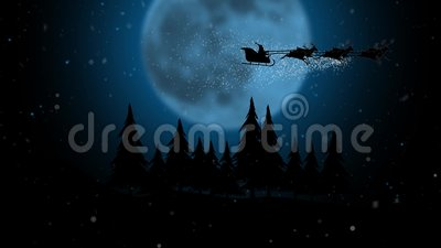 Silhouette santa flying with over full snowflakes moon over night forest. Silhouette stock video footage