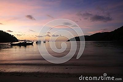 Silhouette scene of tropical beach before sunrise