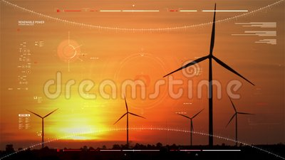 Silhouette scenic of a wind turbine for electric generation eco and clean power with HUD user interface graaf bar and technology  stock videobeelden