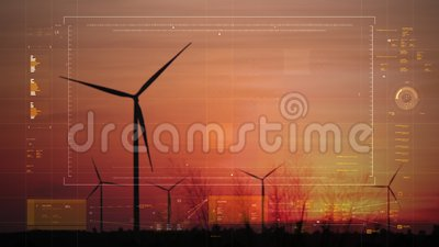 Silhouette scenic of a wind turbine for electric generation eco and clean power with HUD user interface graaf bar and technology  stock video