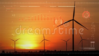 Silhouette scenic of a wind turbine for electric generation eco and clean power with HUD user interface graaf bar and technology  stock footage