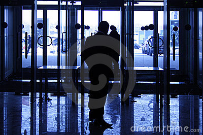 Silhouette of the security guard