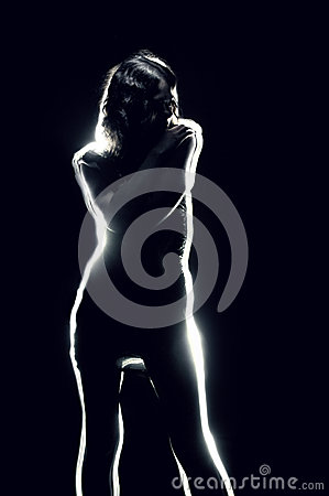 Silhouette of sensuality girl