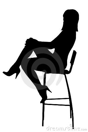 Silhouette of the sexual woman sitting on stool