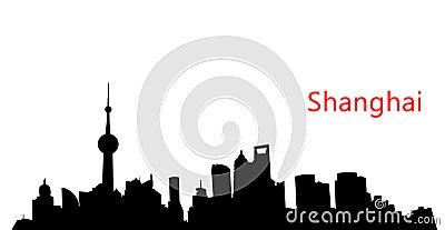 Silhouette Shanghai skyline
