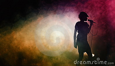 Silhouette of a singing artist