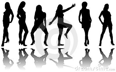 Silhouette of six girls with reflection