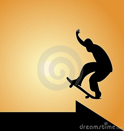 Silhouette skateboard man and arrow