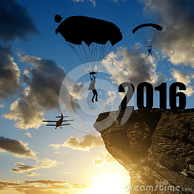 Free Silhouette Skydiver Parachutist Landing In To The New Year 2016 Stock Images - 62810634