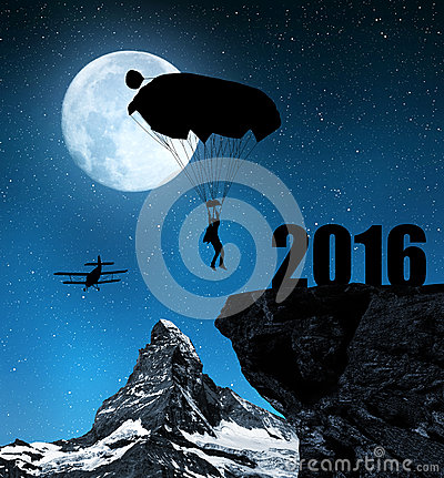 Free Silhouette Skydiver Parachutist Landing In To The New Year 2016 Royalty Free Stock Photo - 64012325