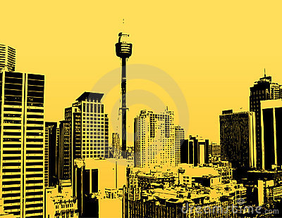 Silhouette of skyscrapers with