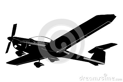 A silhouette of a small plane preparing to land