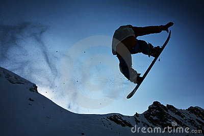 Silhouette Snowboarder jumping