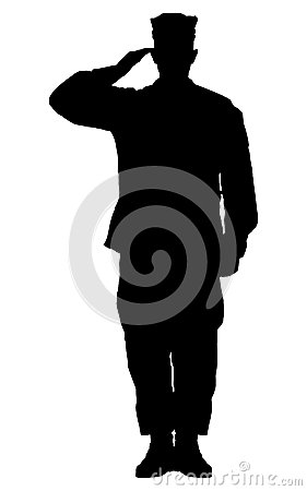 silhouette of a soldier saluted stock illustration