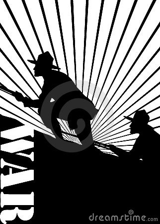 Silhouette of soldiers at war.