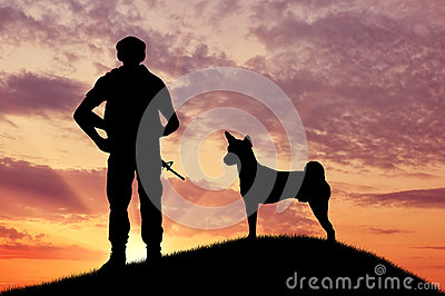 Silhouette of soldiers with weapons and dogs Stock Photo