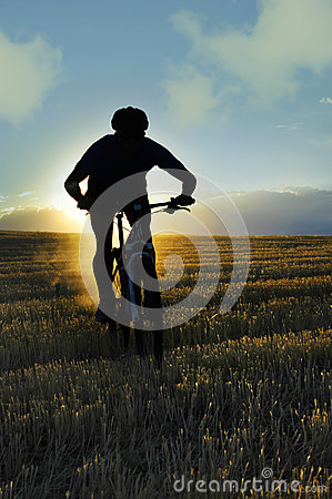 Free Silhouette Sport Man Cycling Downhill Riding Cross Country Mount Stock Image - 58214781