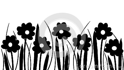 Silhouette of spring flowers and grass Stock Photo