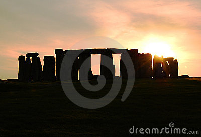 Silhouette of Stonehenge at sunset