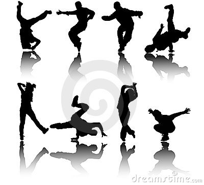 Silhouette street dancers vector