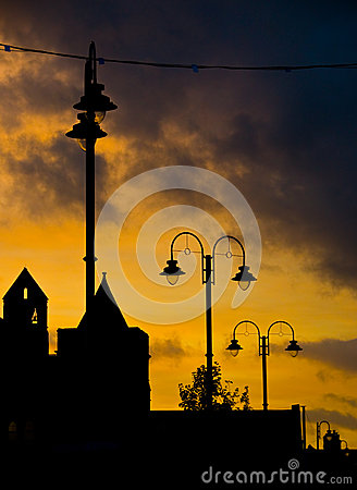 Free Silhouette Street Lights  Stock Photography - 25647522