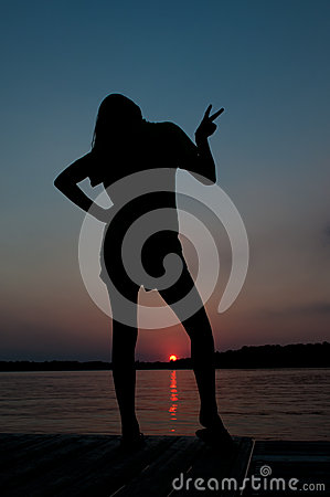 Silhouette Sunset Pose