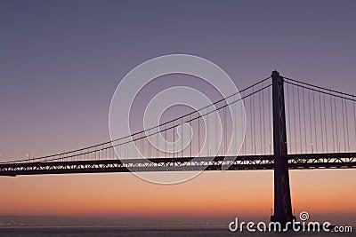 Silhouette of suspension bridge