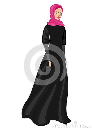 Silhouette of a sweet lady. The girl wears traditional Muslim women s clothing, hijab. A young and beautiful woman. Vector Cartoon Illustration