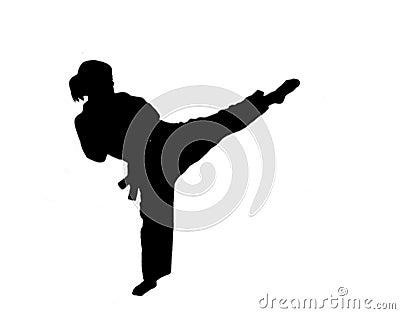 Silhouette of  taekwondo girl