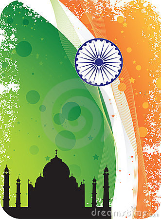 Silhouette of Taj Mahal on Indian flag background