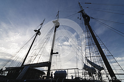 Silhouette of tall ship mast