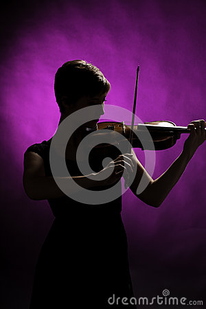 Silhouette of Teenage Girl Violinist
