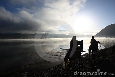 Silhouette of Tibetan riders Editorial Image