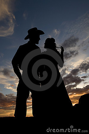 Silhouette together hair playing