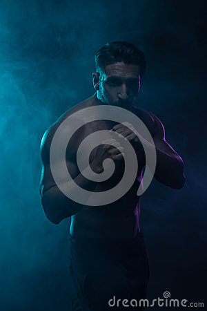 Free Silhouette Topless Athletic Man In A Fighting Pose Royalty Free Stock Photography - 51250537