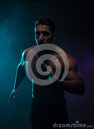 Free Silhouette Topless Athletic Man In A Fighting Pose Royalty Free Stock Images - 51250589
