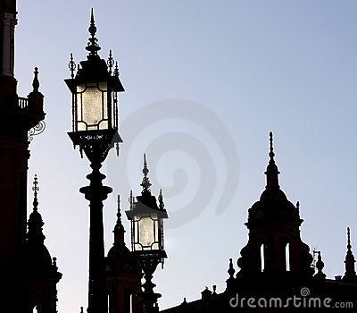 Silhouette of towers and lanterns, Seville, Spain