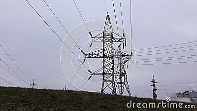 Silhouette, transmission, tours Sous-station de l'électricité, ligne électrique, centrale, équipement, câble banque de vidéos