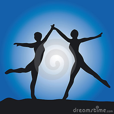 Silhouette of two ballet dance