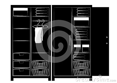 Silhouette of two cupboards