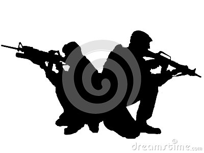 Silhouette of two soldiers Stock Photo