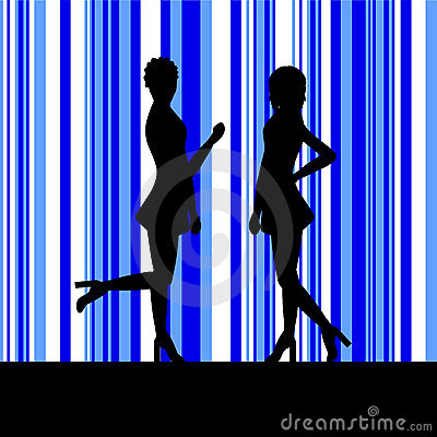 Silhouette of a two women