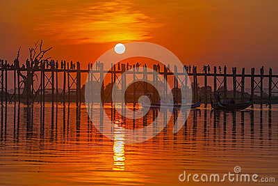 Silhouette of U bein bridge at sunset