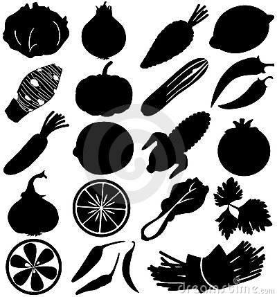 Free Silhouette Vector Of Fruit & Vegetable Royalty Free Stock Photo - 22410855